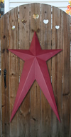 Burgundy Solid Finish Long Metal Barn Stars