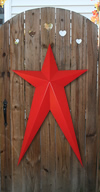 Radiant Red Long Metal Barn Stars
